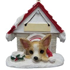 Chihuahua Doghouse Ornament (Set of 2)