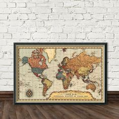 Map of the world , restored , 1939, print. The map shows the boundaries right before the starting of the Second World War.  The print is made on