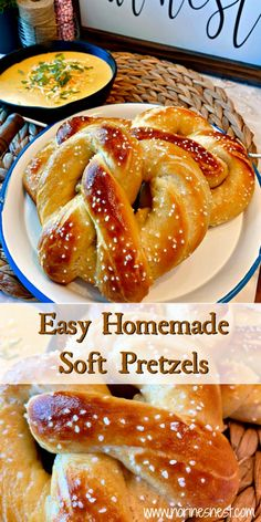 Easy Homemade Soft Pretzels Homemade soft buttery Pretzels with an amazing Salsa Verde Cheese Dipping Sauce. They're so easy to make you'll wonder why you waited so long to make this delicious treat at home! Salsa Verde, Homemade Soft Pretzels, How To Make Pretzels, Easy Homemade Desserts, Homemade Food, Food To Make, Easy Foods To Make, Easy Things To Cook, Snacks To Make