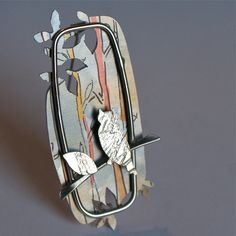 Woodland owl brooch - Claire Gent. A quirky brooch made from hand painted aluminium and sterling silver.