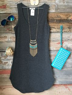 Fun in the Sun Tank Dress: Charcoal from privityboutique