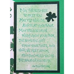Irish Blessing Greeting Card, May the Road Rise to Meet You, Green... (4.14 CHF) ❤ liked on Polyvore featuring home, home decor and stationery