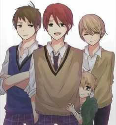 Aw little England with his UK brothers Anime Love, Anime Guys, Scotland Hetalia, Little England, Pictures Of England, Latin Hetalia, Suki, Hetalia England, Hetalia Characters