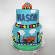 birthday cake with cars and trucks - Google Search