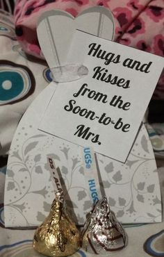 Hugs and Kisses from the Soon-to-be Mrs. bridal shower favors.  See more bridal shower favor ideas at www.one-stop-party-ideas.com