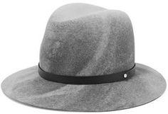 rag & bone Faux Leather-Trimmed Wool-Felt Fedora #hat #womens