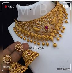 Gold Chain Design, Gold Jewellery Design, Gold Jewelry, Diamond Jewellery, Indian Bridal Jewelry Sets, Silver Jewellery Indian, Gold Chocker Necklace, Chokers, Peacock Jewelry