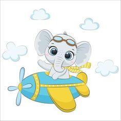 Cartoon Baby Animals, Baby Animal Drawings, Cartoon Elephant, Cute Baby Elephant, Elephant Baby Showers, Little Elephant, Balloon Illustration, Elephant Illustration, Baby Shower Invitation Cards