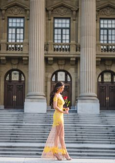 Beauty and the Beast themed Engagement Session by Carey Nash Photography at the Alberta Legislature Building in Edmonton, AB, Canada. I'm wearing For Love and Lemons, Luau Maxi Dress.