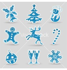 Christmas icons vector - by TAlex on VectorStock®