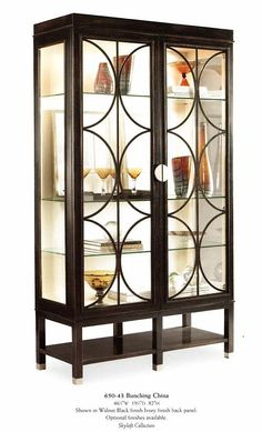 Art Deco walnut display cabinet with glass shelves and lights