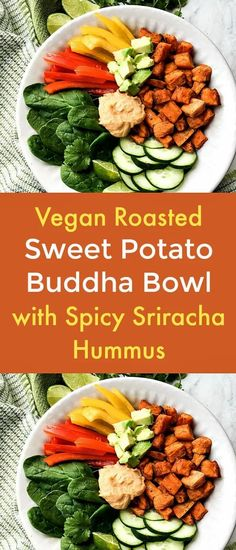 Vegan Roasted Sweet Potato Buddha Bowl with Spicy Sriracha Hummus - I love hearty, flavorful Buddha Bowls! The stars of this vegan Roasted Sweet Potato Buddha Bowl with Spicy Sriracha Hummus are the roasted sweet potatoes and the spicy sriracha hummus. And it's so easy to make.   #buddhabowl   #veggiebowl   #vegandiet  #veganrecipe  #sweetpotatoes  #hummus  #sriracha Herb Recipes, Plant Based Recipes, Real Food Recipes, Salad Recipes, Delicious Vegan Recipes, Vegetarian Recipes, Healthy Recipes, Amazing Recipes, Tasty