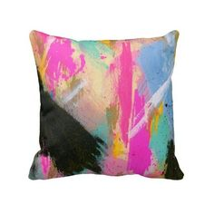 Pink Blue Colorful Rainbow Fashion Retro Pillow ($36) ❤ liked on Polyvore featuring home, home decor, throw pillows, colorful throw pillows, quote throw pillows, multi color throw pillows, colorful home decor and multi colored throw pillows