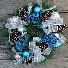 ADORNE YOUR FRONT DOOR WITH THIS EXTRA FULL DESIGNER QUALITY CHRISTMAS WREATH FOR AN INSTANT HOLIDAY DECOR MAKEOVER -If you are looking for a wreath that is highly visible from the street and is sure to bring many compliments from your neighbors, this wreath is FOR YOU! The Wreath Depot uses top notch materials to handcraft each wreath that instantly add elegant holiday flair to your home, unlike other cheap, plastic feeling Christmas wreaths. ALL WEATHER APPROVED FOR OUTDOOR USE- Display… Holiday Wreaths, Christmas Decorations, Holiday Decor, Dental, White Gift Boxes, Color Show, Furniture Decor, Weather, Blue Colors