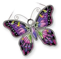 Amia 8255 Swallowtail Butterfly Suncatcher, Hand-painted Glass, 6-1/2-Inch W by 5-1/4-Inch L by Amia. $22.00. Includes chain. Hand-painted glass. 6 1/2-inch w by 5 1/4-inch l. Amia swallowtail butterfly suncatcher.  Hand-painted glass, includes chain.  Comes gift boxed, perfect gift for someone special.