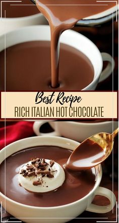 RICH ITALIAN HOT CHOCOLATE This thick and debauched hot cocoa is ultra rich and velvety, its like drinking chocolate soup. Thin, Light, Refreshing isn't in the present jargo… Italian Hot Chocolate Recipe, Best Hot Chocolate Recipes, Hot Cocoa Recipe, Frozen Hot Chocolate, Cocoa Recipes, Homemade Hot Chocolate, Hot Chocolate Bars, Hot Chocolate Recipe Quick, Hot Chocolate Coffee