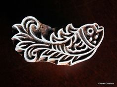 Hand Carved Indian Wood Textile Stamp Block- Stylized Fish Motif