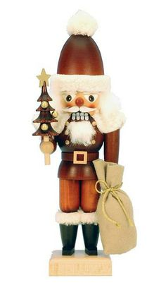 A handsome natural wood finish brings an antique look to the Natural Santa Nutcracker from Alexander Taron.