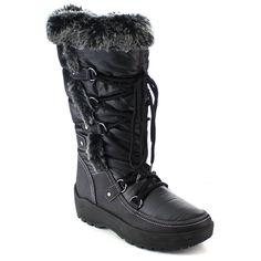 daa3a6a7fad FROST-01 Women s Stitching Lace Up Mid-Calf Snow Boots - Black - C81265FERTP