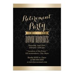 Black and Gold Damask Retirement Party Invitations X Invitation Card Retirement Party Cakes, Retirement Celebration, Anniversary Party Invitations, Retirement Party Decorations, Retirement Party Invitations, Anniversary Parties, Personalised Party Invitations, Zazzle Invitations, Invitation Cards