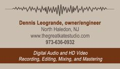 Sample Recording Studio Business Card back Digital Audio, Recording Studio, Hd Video, Business Cards, Blue, Lipsense Business Cards, Hd Movies, Name Cards, Visit Cards