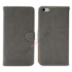 Retro Style Wallet Design Leather Case with Card Slot For iPhone 6 Plus 5.5inch - Dark grey US$10.99