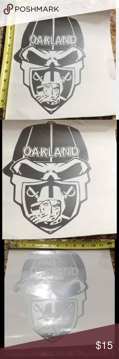 Oakland Raiders skull decal High quality FDC vinyl- excellent for Windows, lockers, laptops, binders, cars,etc.....different color? Just ask Other