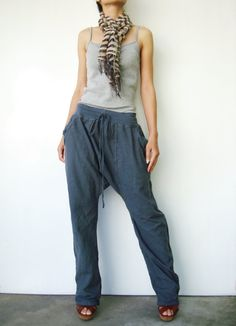NO.68     Greyish Blue Cotton Drop Crotch Pants Slant Pockets Trendy Trousers. Etsy.