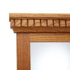 Mirrored Solid Oak Coat Rack with Classic Double Hooks - Black Powder Coat - Oak Finish