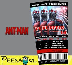 Printable Marvel Ant-man Movie Invitation Ticket by PeekaOwl  -   #antman #kurttasche #marvelmovies