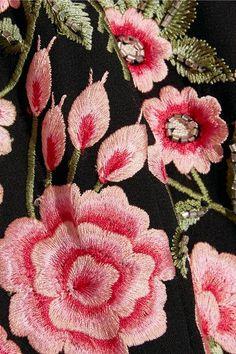 Needle & Thread - Tulle-trimmed Embroidered Crepe Mini Dress - Black