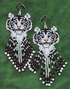 Beaded White Tiger Fringed Earrings.