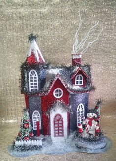 Red Silver and Dark Gray Putz House with Bottle Brush Trees and Vintage Snowman READY TO SHIP by laughterandlemondrop on Etsy