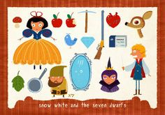 """All you need to know about Snow White and the Seven Dwarfs! Love the """"x7"""" next to the lone dwarf. LOL"""