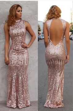 2017 Mermaid Sequins HIgh Neck Open Back Prom Dress Sexy Evening Gowns