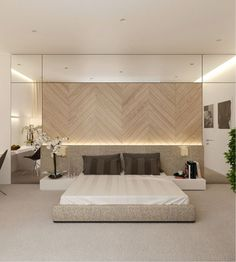 Chambre d'hotel elegante, tete de lit bois facon parquet poibt de Hongrie… | Visit www.contemporarylighting.eu for more inspiring images and decor inspirations