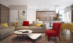 In the main living area of this first home, primary colors yellow and red are pitted against some cool oatmeal neutrals. The way these bright colors pop really give the otherwise simple and modern home some playful pizzazz. The palette really carries itself throughout the shared space, from an accent wall to dining chairs and throw pillows and even into the master bedroom, where the yellow takes on a more muted tone.