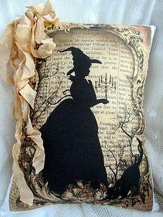 Witch Pillow, Tea dyed, HALLOWEEN, Black CAT, Primitive, Shabby, Halloween!!