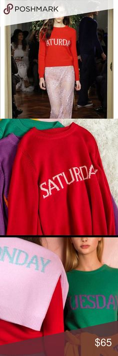 Rainbow weekdays sweater New. Round neck line. One size may fit for small and medium with Saturday written in red color Sweaters