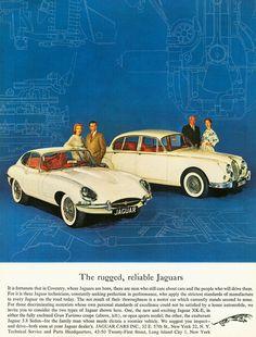 1962 Jaguar E type and MkII Vintage Advertisements, Vintage Ads, Jaguar Daimler, Jaguar E Type, Jaguar Cars, Pontiac Lemans, Ad Car, Sports Sedan, Car Advertising