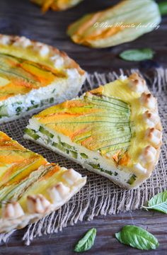 Ricotta, Zucchini Flowers, Good Food, Yummy Food, Quiche Recipes, Antipasto, Finger Foods, Healthy Recipes, Yummy Recipes