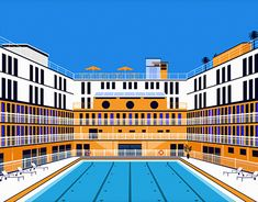 """Check out new work on my @Behance portfolio: """"Molitor Pool - Illustration"""" http://be.net/gallery/66788631/Molitor-Pool-Illustration"""
