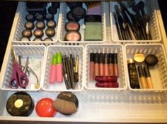 Grouping like items together can help reduce clutter in your makeup drawer! Blue Bathroom Paint, Bathroom Drawers, Bathroom Organization, Makeup Organization, Makeup Dividers, Bathroom Ideas, Bathroom Storage, Calm Down Jar, Blue Paint Colors