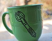 Doctor Who Sonic Screw driver on green mug $12.00, via Etsy.