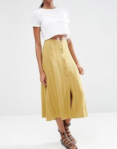 Image 4 of ASOS Button Through Midi Skirt