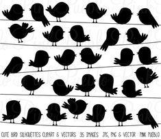 Pájaro lindo siluetas Clipart Clip Art de vectores, volando y On a Wire - uso…