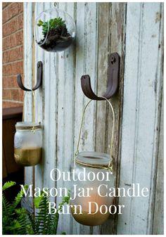 Outdoor Mason Jar Candle Barn Door | http://chatfieldcourt.com