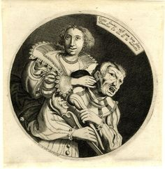 print Museum number1995,0226.1 Title (object)Cette femme n'est pas trop sotte DescriptionElegantly dressed courtesan tickling the ear of man in fool's costume from behind; a circular composition. c.1620-40 Engraving