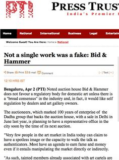 Not a single work was a fake: Bid & Hammer - PRESS TRUST OF INDIA (PTI), FULL STORY, 1ST APRIL 2015