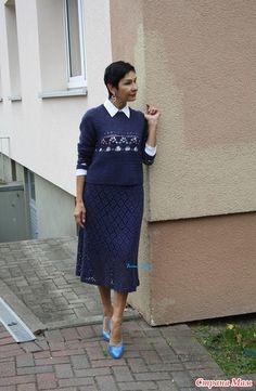 Knit Skirt, Knit Dress, Vintage Crochet Patterns, Crochet Woman, Crochet Clothes, Suits, Knitting, Horns, Magazine